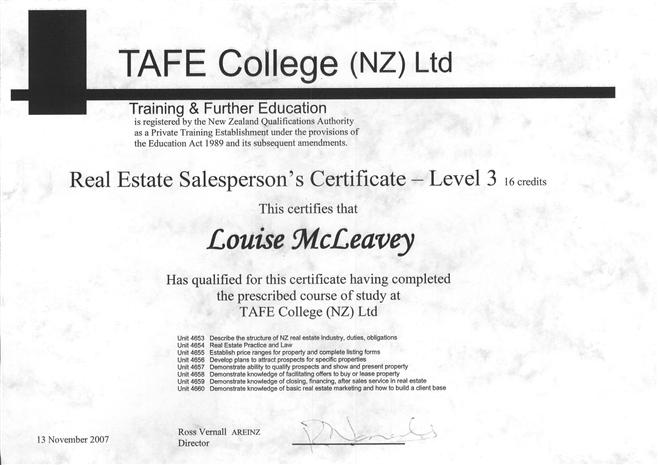 Tafe Certificate