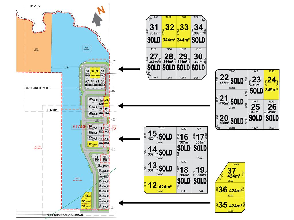 Sections Lot 12, 24, 32 and 33 are available