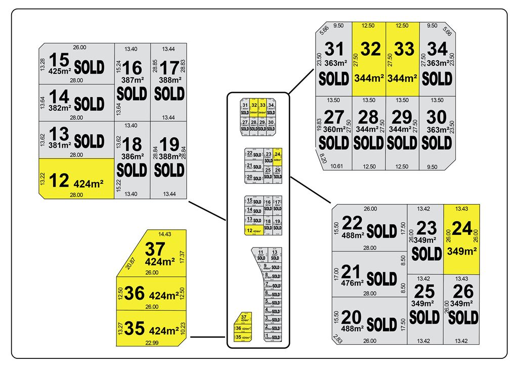 Sections: Lot 12, 24, 32 and 33 available