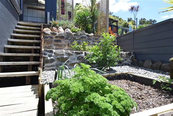 Raised vege garden and tiered fruit trees