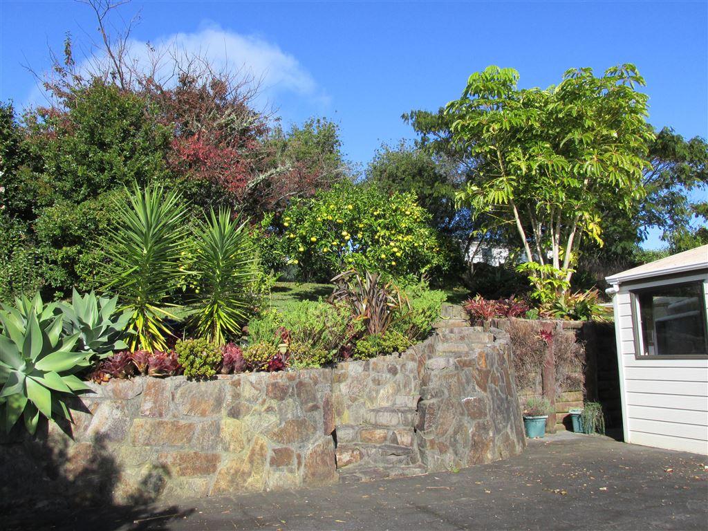 Established garden with fruit trees