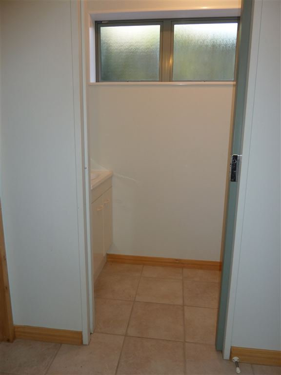 Downstairs bathroom/garage/laundry area.