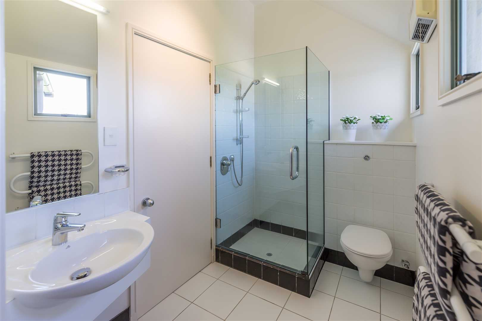 Bathroom on first level, dual access