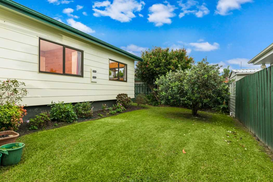 Flat, fenced section - a great place for children and pets to play.