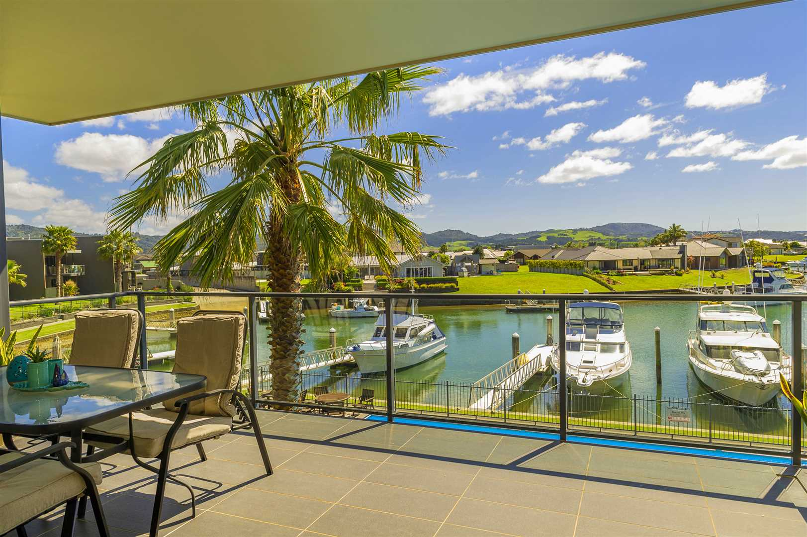 Stunning sunny water-front vista...