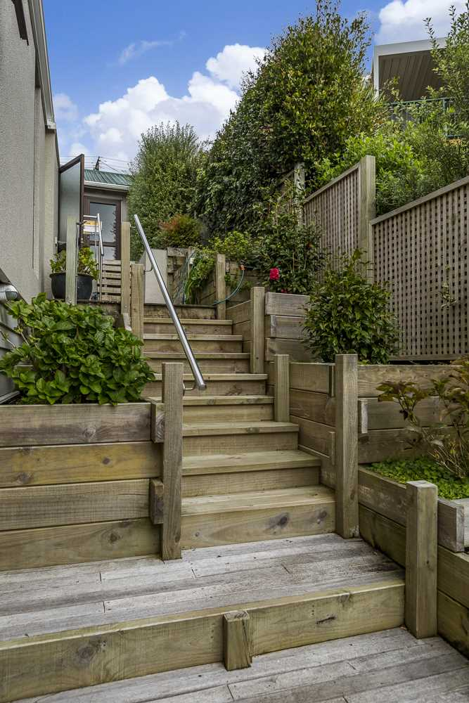wooden external stairs to extended family living