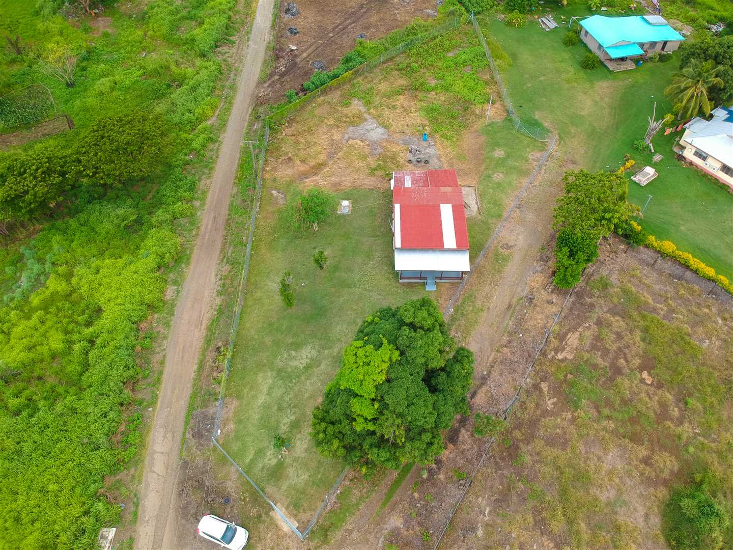 The fence line is defined in this birds eye view of the property.
